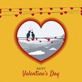 Birds on wire in love in heart shape for valentines day Stock Photos