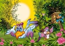 Birds World. Cartoon Background Illustration, Bitmap Stock Photography