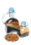Birdseed in bottle Royalty Free Stock Images