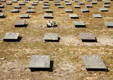 Birdseye of Headstones at Ancient Moravian Graveyard Stock Photos