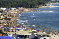 Birdseye panoramic view of a crowded beach Stock Photo