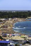 Birdseye panoramic view of a crowded beach Royalty Free Stock Image
