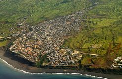 Birdseye view of entire city Sao Filipe Stock Image