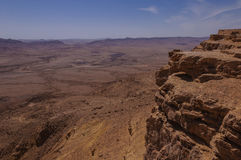 Birdseye view on hikers in the Ramon crater Royalty Free Stock Photo