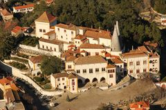 Birdseye view of the National Palace. Sintra. Portugal Royalty Free Stock Photo