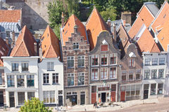 Birdseye view at old Dutch canalside houses Stock Photography