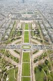 Birdseye view of Paris from Eiffel Tower Royalty Free Stock Photos