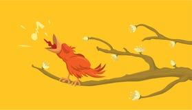 Birdsong. Cartoon vector illustration bird singing in the forest Royalty Free Stock Photos