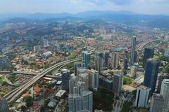 Birdview av Kuala Lumpur från 180 golv Petronas Royaltyfri Fotografi