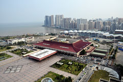 Birdview China Zhuhai and Macao. From a high building near the border port Stock Photography