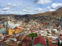 Birdview of Guanajuato. View of the colorful houses of Guanajuato against the mountains Stock Photo