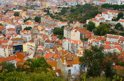 Birdview of Lisbon, Portugal. Birdview of tiled orange roofs of Lisbon, Portugal Stock Photography