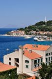 Birdview of Podgora with monument Seagull's wings. Croatia Stock Images