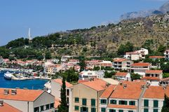 Birdview of Podgora with port. Croatia Stock Photos