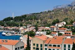 Birdview of Podgora with port. Croatia stock photos