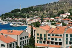 Birdview of Podgora with port and monument Seagull's wings. Croatia Royalty Free Stock Photography