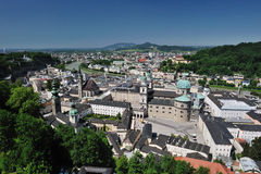 Birdview of Salzburg, Austria. Salzburg is the fourth-largest city in Austria and the capital of the federal state of Salzburg. Salzburg's Old Town (Altstadt) Royalty Free Stock Photo