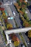 Birdview of street. Osaka, Japan-November 11, 2014; Birdview of street in Rinku-Town with cars driving on the left. November 11, 2014,Osaka, Japan Royalty Free Stock Image