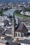 Birdview van Salzburg, Oostenrijk Stock Foto's