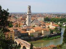 Birdview of Verona. Italy. Adige river Royalty Free Stock Images