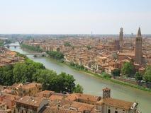 Birdview of Verona, Italy. Adige river and Ponte Nuovo Royalty Free Stock Photography