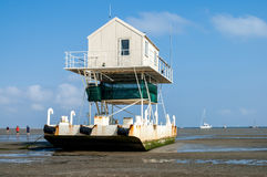 Birdwatch cabin, Wadden Sea Stock Photos