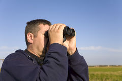 Birdwatcher. Studying migration at Spurn Bird Observatory Stock Images