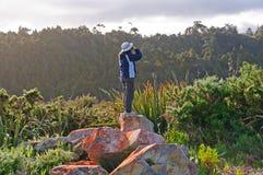 Birdwatcher, das versucht, die Vögel zu sehen Lizenzfreie Stockfotos