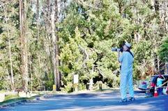 Birdwatcher  in haleakala national park Royalty Free Stock Photo