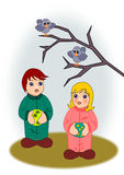Birdwatchers. Two little kids looking at some birds on a branch Royalty Free Stock Images