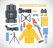 Birdwatching flat  icons set Royalty Free Stock Photo