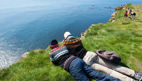 Birdwatching on the Latrabjarg cliffs Stock Images