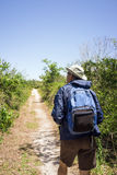 Birdwatching Man Hiking on a Path in national park. Mature man in hat, backpack and windbreaker hiking on a path in an arid landscape Royalty Free Stock Image