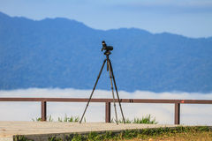 Birdwatching monocular or spotting scope on a tripod Royalty Free Stock Photo