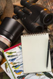 Birdwatching - Notebook - Space for text stock photos