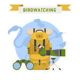 Birdwatching Tourism Concept Vector Illustration. Birdwatching tourism concept background. Birding summer travel elements with bird silhouettes. Birdwatching and Stock Images