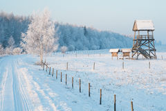 Birdwatching tower in winter royalty free stock photos