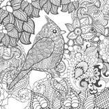 Birdy in fantasiebloemen Royalty-vrije Stock Afbeelding