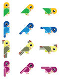 Birdy, isolated. Isolated  illustration with funny colored birds Royalty Free Stock Photo