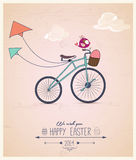 Birdy riding bike Easter greeting card Stock Photo