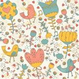 Birdy w krainy cudów cudackiej ilustraci Zdjęcie Stock
