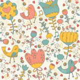 Birdy in the wonderland whimsical illustration Stock Photo