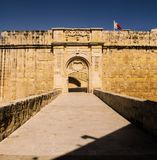 Birgu Advanced Gate. The Vittoriosa Advanced Gate is the second of the three main gates, located on the right face of St. John Bastion in Birgu, Malta Stock Photo