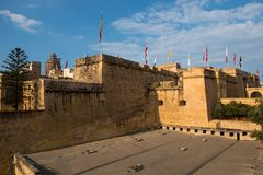 St Angelo fort, Malta. BIRGU, MALTA - AUGUST 23, 2017: The fortress of St Angelo is a large bastioned fort in Birgu, Malta, located at the centre of the Grand Royalty Free Stock Photography