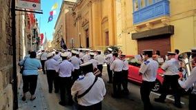 Brass band in Birgu, Malta stock video