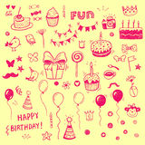 Birhday elements. Hand drawn set. Stock Image