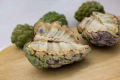 Biriba exotic fruit. Exotic fruits on wooden board Royalty Free Stock Photo