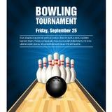 Birilli e palla da bowling sulla corte di bowling illustrazione vettoriale
