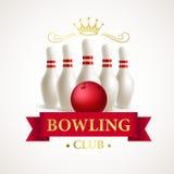 Birillo e palla da bowling sparsi Vettore illustrazione di stock