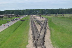Birkenau, big concentration camp in Poland. Railway of death in Birkenau - Big german nazi concentration camps of II. World War near Osvietim, Poland for royalty free stock images